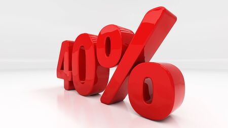 compounding: Forty percent off. Discount 40.  Percentage. 3D illustration