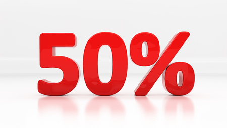 half cent: Fifty percent off. Discount 50.  Percentage. 3D illustration Stock Photo