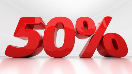 half cent: Fifty percent off. Discount 50.  Percentage. 3D illustration Stock Photo