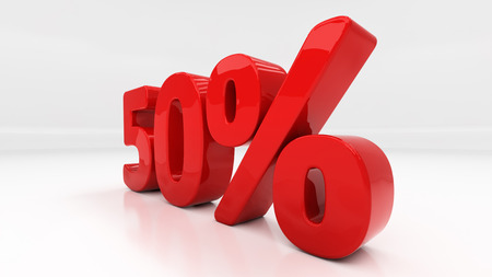 compounding: Fifty percent off. Discount 50.  Percentage. 3D illustration Stock Photo