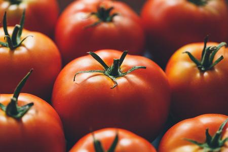 viands: Lots of ripe tomatoes closeup. Low-key lighting