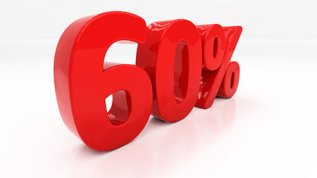 sixty: Sixty percent off. Discount 60.  Percentage. 3D illustration