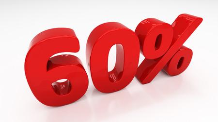 half cent: Sixty percent off. Discount 60.  Percentage. 3D illustration