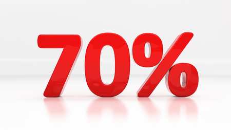 half cent: Seventy percent off. Discount 70.  Percentage. 3D illustration