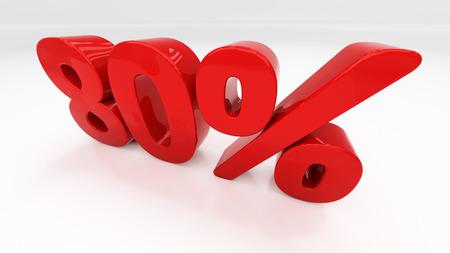 half cent: Eighty percent off. Discount 80.  Percentage. 3D illustration