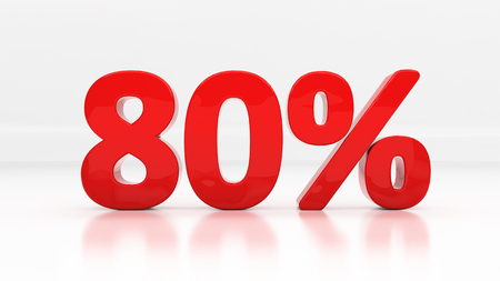 compounding: Eighty percent off. Discount 80.  Percentage. 3D illustration