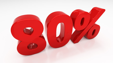 80: Eighty percent off. Discount 80.  Percentage. 3D illustration