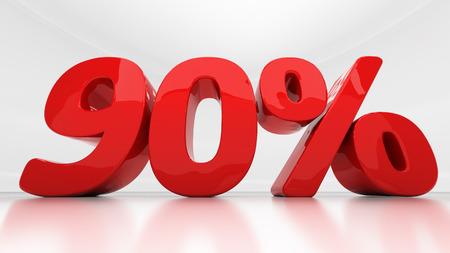 half cent: Ninety percent off. Discount 90.  Percentage. 3D illustration
