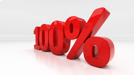 half cent: One hundred percent off. Discount 100.  Percentage. 3D illustration Stock Photo