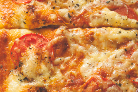 viands: A meatless vegetarian pizza just removed from an oven