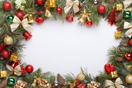Christmas frame with Christmas ornaments and decorations