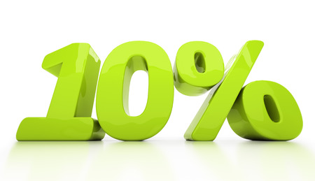 half cent: Ten percent off. Discount 10. 3D illustration