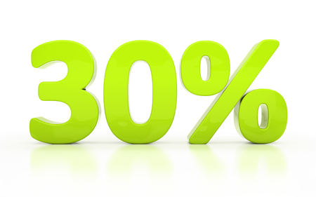 half cent: Thirty percent off. Discount 30.  Percentage. 3D illustration isolated on white