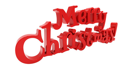 felicitation: Merry Christmas 3d text on white background Stock Photo