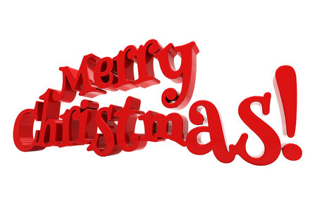 Merry Christmas 3d text on white background photo