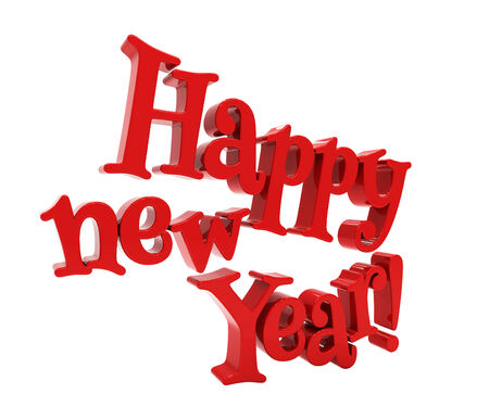 felicitation: Happy new year 3d text on white background