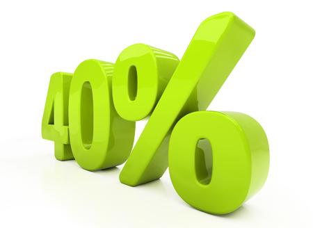 half cent: Forty percent off. Discount 40.  Percentage. 3D illustration