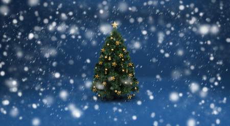 Realistic beautiful snow on a blue background with Christmas tree. Design elements for holiday cards photo