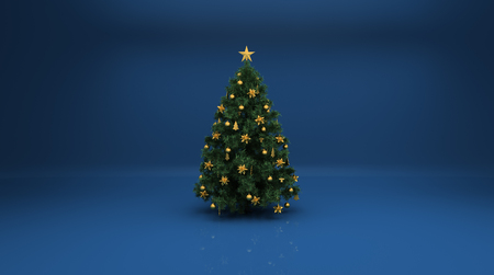 Christmas tree on blue background. Design elements for holiday cards photo