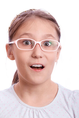 greatly: Girl greatly surprised on a white background