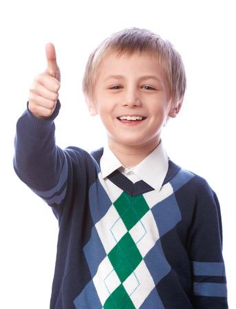 k 9: Boy shows okay on a white background