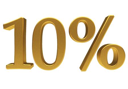 per cent: Gold ten percent off. Discount 10. 3D illustration