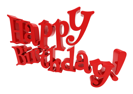 mirth: 3d Happy Birthday on а white background Stock Photo