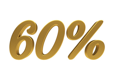 half cent: 60 percent off. Discount 60. 3D illustration