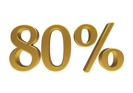half cent: 80 percent off. Discount 80. 3D illustration