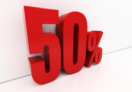 half cent: 50 percent off. Discount 50. 3D illustration