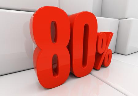 compounding: 80 percent off. Discount 80. 3D illustration