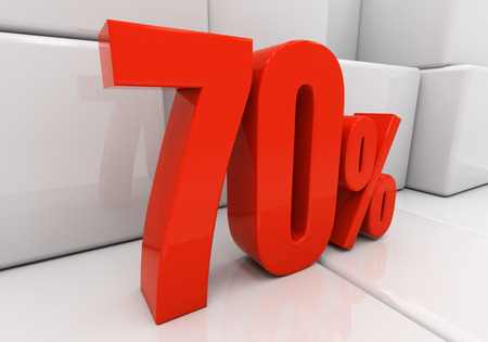 compounding: 70 percent off. Discount 70. 3D illustration Stock Photo