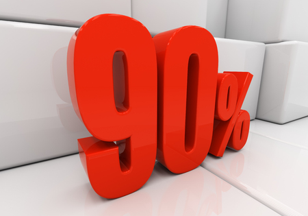 compounding: 90 percent off. Discount 90. 3D illustration
