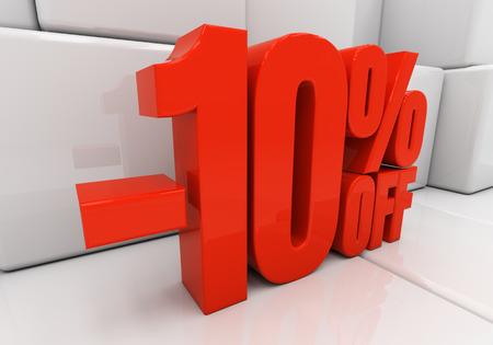 half cent: Red ten percent off. Discount 10. 3D illustration