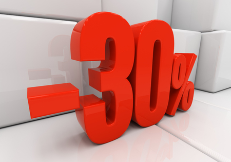 the 30: 30 percent off. Discount 30. 3D illustration