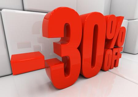 compounding: 30 percent off. Discount 30. 3D illustration