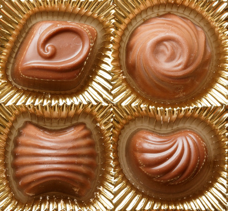 viands: Chocolate sweets in box close up