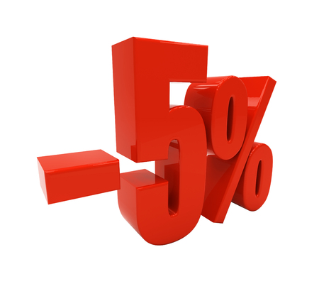 half cent: 5 percent off isolated on white. Discount 5. 3D illustration