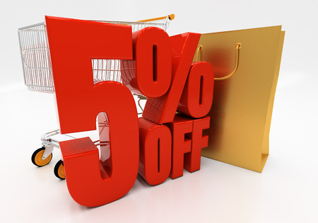 acquirer: 5 percent off. Discount 5. 3D illustration
