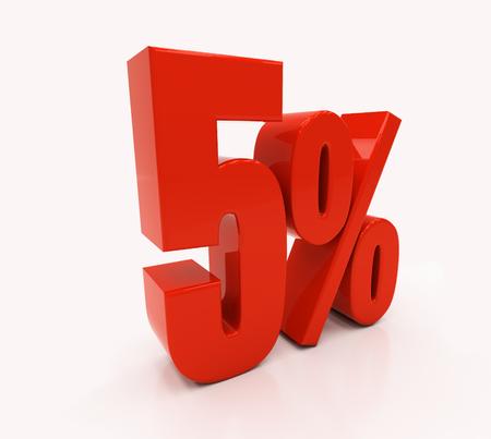 compounding: 5 percent off. Discount 5. 3D illustration