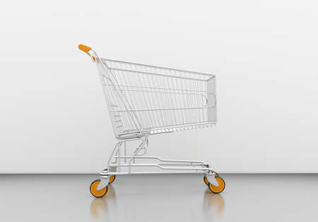 acquirer: Empty shopping cart in grey studio