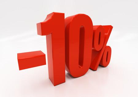 half cent: 10 percent Discount. 3D illustration