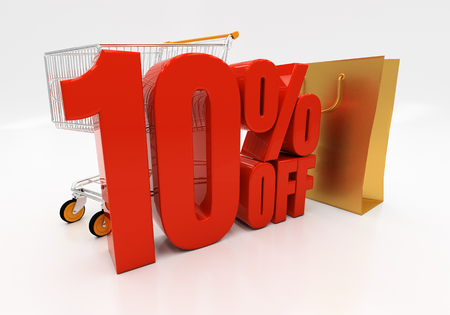 half cent: 10 percent off. 3D illustration