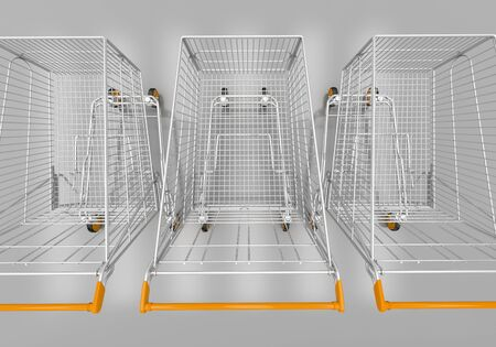 acquirer: Empty shopping carts in grey studio