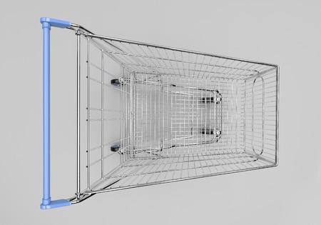 shopping buggy: Empty shopping cart in grey studio