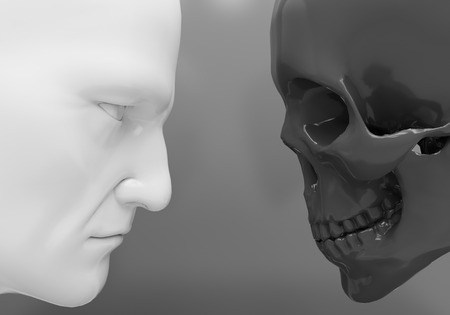 subsist: A man and a skeleton confront each other Stock Photo