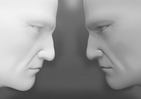 The two men confront each other Stock Photo
