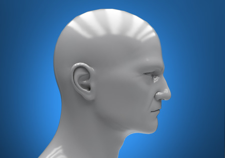 layman: The mans head close-up on a blue background