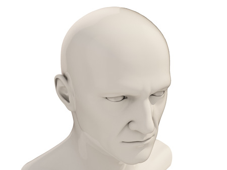layman: Human head isolated on a white background Stock Photo