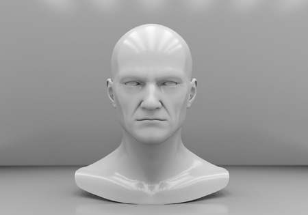 layman: The mans head close-up on a gray background
